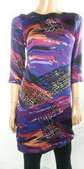 $149 Ralph Lauren Women Multi Printed 3/4 Sleeve Tunic Dress Chiffon Size 4 - evorr.com
