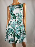 $99 NEW TAYLOR Women's Ivory Green Print Sleeveless A-line Pockets Dress Size 12 - evorr.com