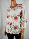 JM Collection Women's Scoop-Neck Crinkle Floral Bell Sleeve Blouse Top Size PP - evorr.com
