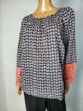 New .TOMMY HILFIGER Women Blue Printed Smoke Neck Long Sleeve Blouse Top Plus 1X - evorr.com