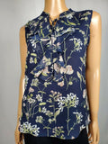 New TOMMY HILFIGER Women Blue Floral Print Sleeveless Ruffle Blouse Top XS - evorr.com