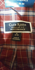 Club Room Mens Pocket Button-Down Dress Shirt Red Plaids Long-Sleeve 16 32 / 33 - evorr.com