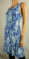 NY Collection Women's Sleeveless Scoop-Neck Space-Dye Blue Peplum Tunic Dress L - evorr.com