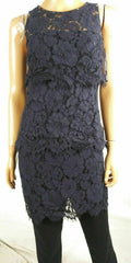 Ralph Lauren Women Scoop-Neck Sleeveless Layered Lace Floral Navy Blue Dress 0 - evorr.com