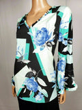 New ALFANI Women Bell Sleeve Black Flower Printed V-Neck Colorblock Blouse Top M - evorr.com