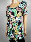 Calvin Klein Women Short Sleeve V-Neck Floral Printed Cotton Blouse Top Plus 3X - evorr.com