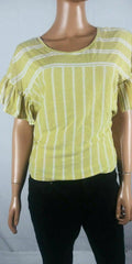 Lucky Brand Women Yellow Scoop Neck Flared Sleeve Cotton Blouse Top X-Small XS - evorr.com