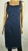 Alex Evenings Women Blue Embellished Lace Square Lined Tunic Dress Petite 14 P - evorr.com