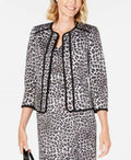 New KASPER Womens Black Leopard Printed 3/4 Sleeve Office Fly Away Jacket 2P