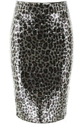 Michael Kors Women's Sequined Animal Print Black Silver Sequin Pencil Skirt SZ S