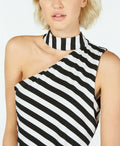 INC International Concepts Women Asymmetrical Cutout Top White Black Striped XL