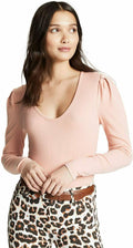 New Free People Womens PUFF Long Sleeve Pink Scoop Neck Hey Lady Blouse Top XS