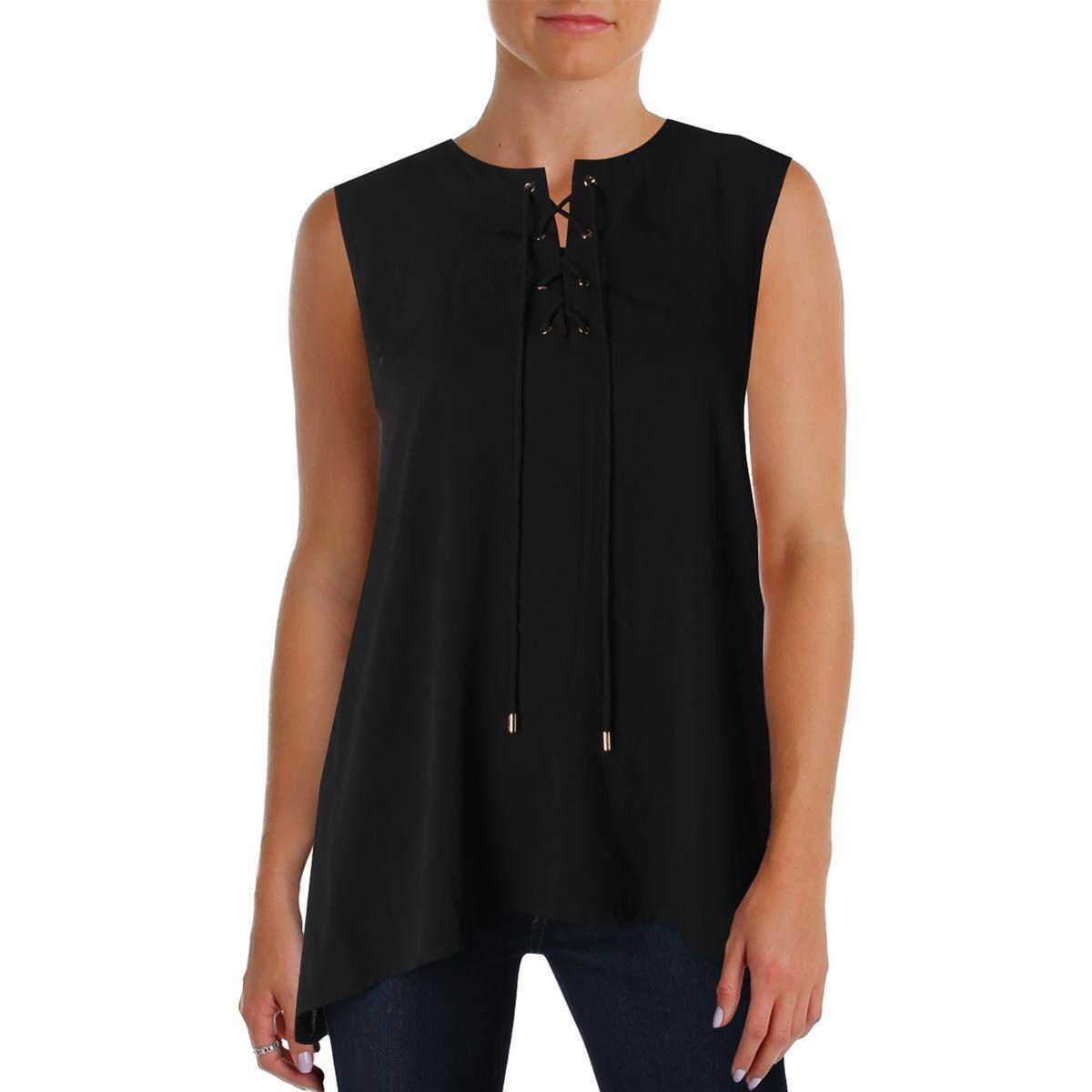 Calvin Klein Women's Black Grommet Lace Up Blouse Top Medium M