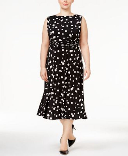 Jessica Howard Women's Sleeveless Black Polka Dot Midi Dress Plus 16W