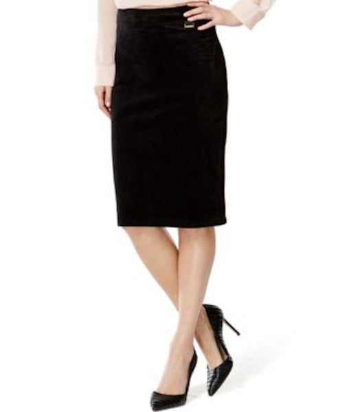 Calvin Klein Women's Stretch Black Pull-On Faux-Suede Straight Pencil Skirt M - evorr.com