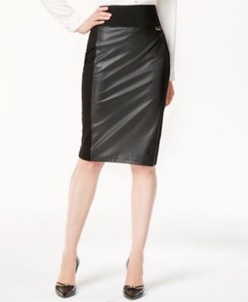 Calvin Klein  Women's Stretch Black Pull-On Faux-Leather Straight Pencil Skirt L - evorr.com
