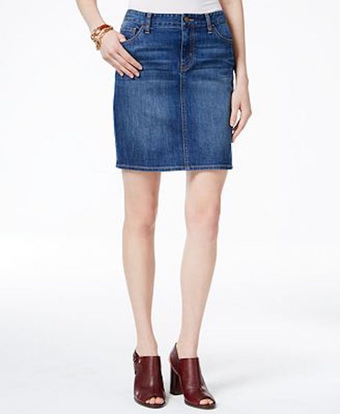 Tommy Hilfiger Women's Stretch Blue Medium Wash Pencil Denim Skirt 10 - evorr.com