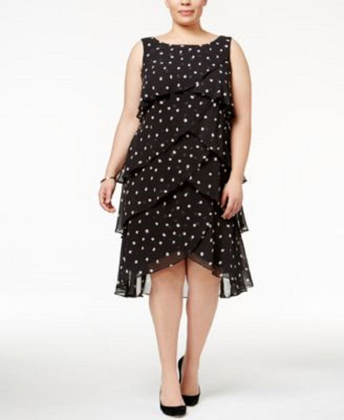 $99 New SL Fashions Women's Plus Size Tiered Polka-Dot Dress Black white 14W