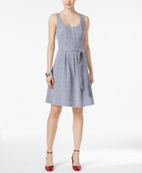 $79 New Nine West Womens Blue White Gingham Belted Fit Flare Dress Size 16
