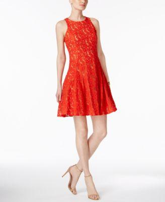 $158 New Ivanka Trump Women's Sleeveless Red Nude Fit Flare Lace Tunic Dress 16