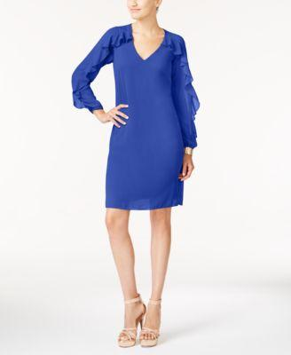 $99 New Thalia Sodi Women's Blue Ruffled Illusion V-neck Shift Tunic Dress Size M
