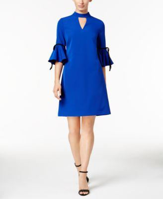 $99 New Julia Jordan Women's Blue Bell Sleeve Sheath  Tunic Dress Keyhole Neck Size 16