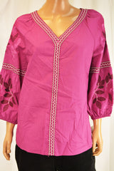 Charter Club Women Cotton Pink Embroidered Blouse Top Large L