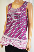 Charter Club Women's Purple  Printed Embroidered Blouse Top Large L