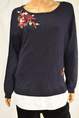 Charter Club Women Blue Embroidered Layered-Look Sweater Top XXL