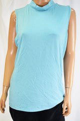 Charter Club Women's Sleeveless Mock-Neck Blue Blouse Top  XL