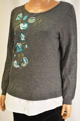 Charter Club Women's Gray Layered-Look Embroidered Sweater Top L