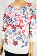 Charter Club Women's White Floral Print Keyhole Blouse Top Large L