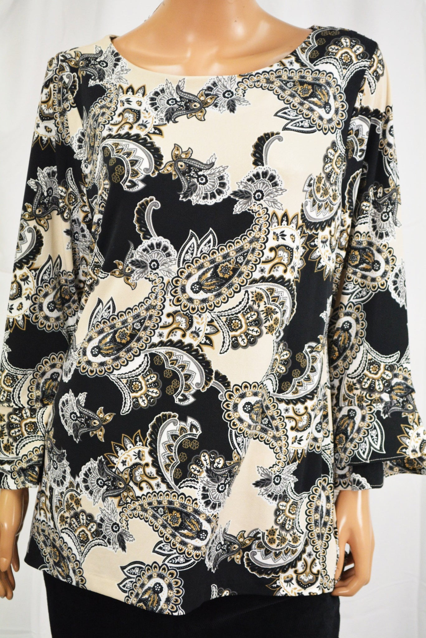 Charter Club Women's Beige Paisley-Print Ruffled Blouse Top X-Large XL
