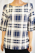 Charter Club Women's Flared-Sleeve Beige Blue Plaid Blouse Top L