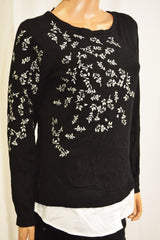 Charter Club Women Black Layered-Look Embroidered Sweater Top Medium M