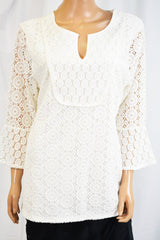 Charter Club Women's Bell-Sleeve White Mixed-Lace Tunic Blouse Top XL