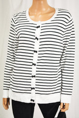 Charter Club Women Black Striped Bow Trim Button Down Cardigan Top XXL