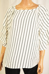 Charter Club Women Tiered-Sleeve White Striped Blouse Top Large L