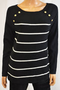 Charter Club Women Black Striped Embellished Elbow-Patch Sweater Top L