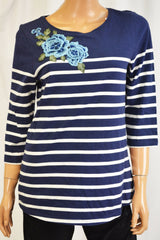 Charter Club Women Cotton Blue Striped Embroidered Blouse Top Medium M