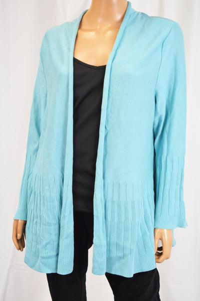 Charter Club Women's Blue Open-Front Ribbed Cardigan Large  L