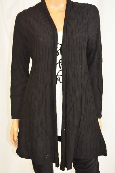 Charter Club Women Black Pleated Open-Front Duster Cardigan Medium M