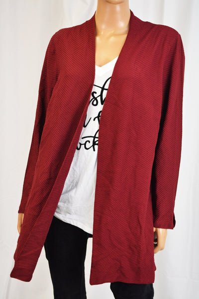 Charter Club Women Red Open Front Ribbed Duster Cardigan X-Large XL