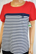 Karen Scott Women Red Striped Pocketed T-Shirt Blouse Top Large L