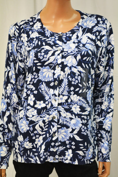 Karen Scott Women's Blue Printed Button Down Cardigan Top Large  L