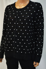 Charter Club Women Black Dotted Textured-Stripe  Button Down  Cardigan L