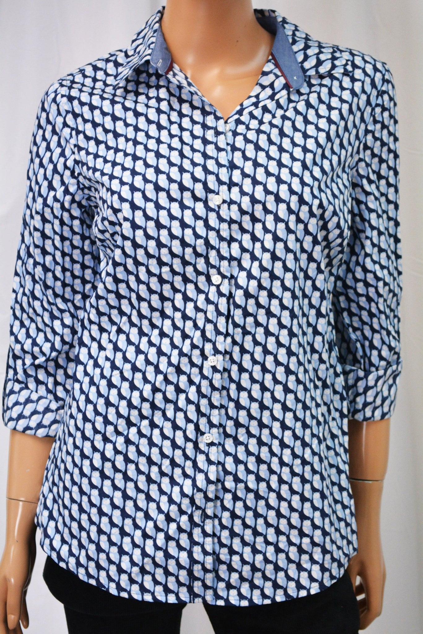 Charter Club Women's Roll-Tab Blue Printed Button Down Shirt  4