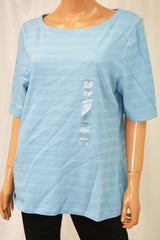 Charter Club Women's Elbow-Slv Blue Textured Blouse Top X-large XL