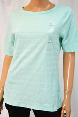 Charter Club Women's Aqua Gloss Blue Textured Blouse Top Medium M