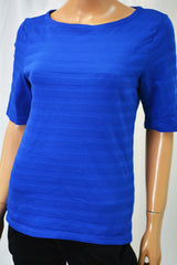 Charter Club Women's Boat Neck Blue Textured Blouse Top Small S
